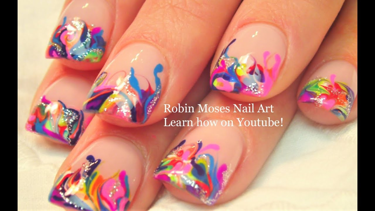 Neon Rainbow Nails! - No Water needed Drag Marble Nail Art Tutorial - Neon Rainbow Nails! - No Water Needed Drag Marble Nail Art Tutorial