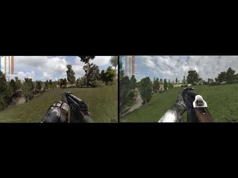 Stalker Anomaly 1.5.1 vs A.R.E.A side by side graphics comparison at 4K Max settings