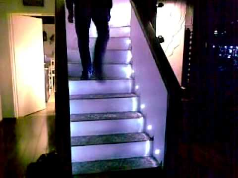 automatic led stair lighting youtube. Black Bedroom Furniture Sets. Home Design Ideas