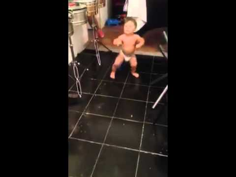Baby dancing to soca music