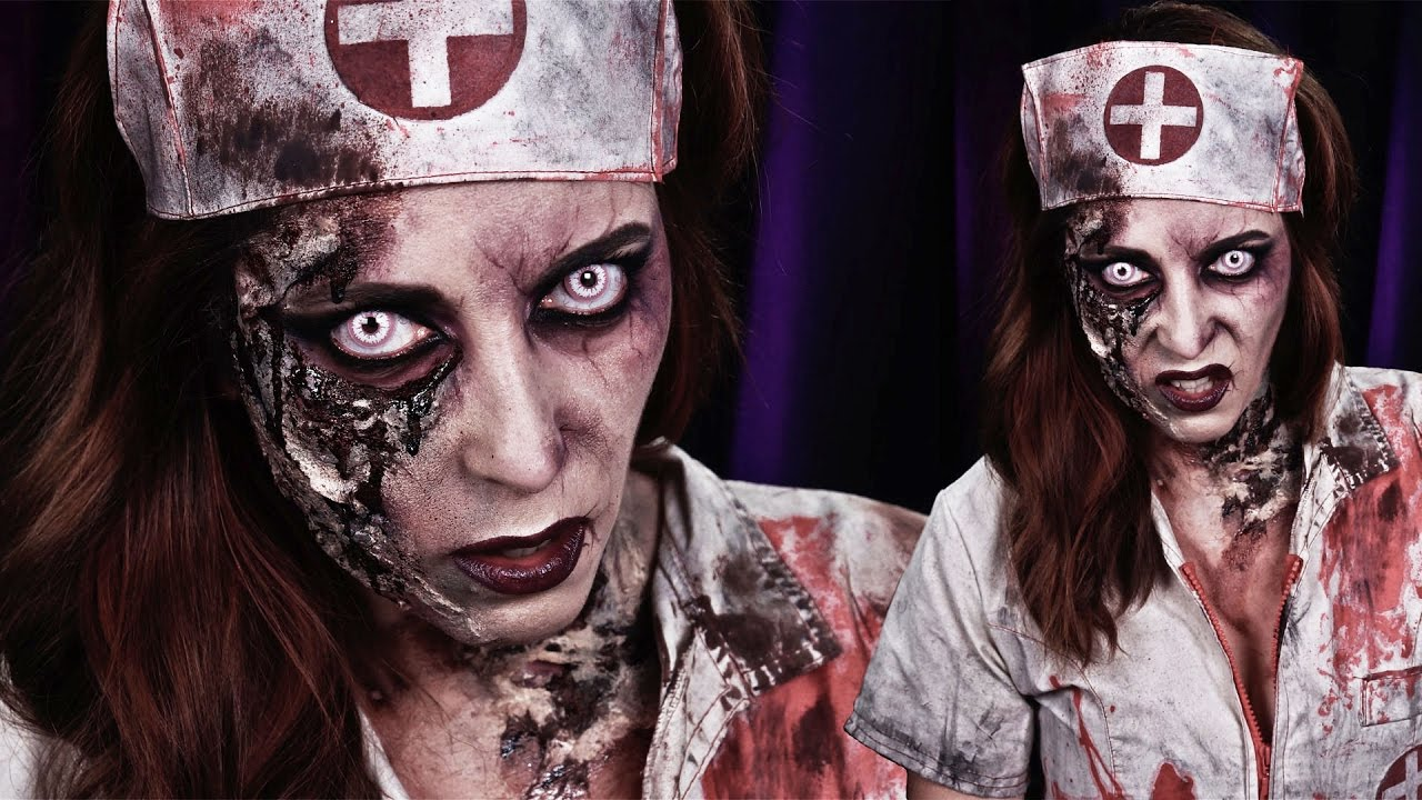 maquillage halloween zombie sexy zombie nurse youtube. Black Bedroom Furniture Sets. Home Design Ideas