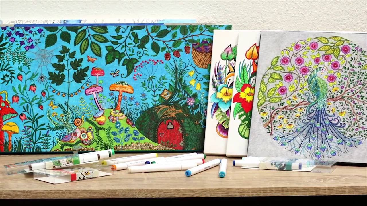 Johanna Basford Coloring Canvas Mini Tutorial - YouTube