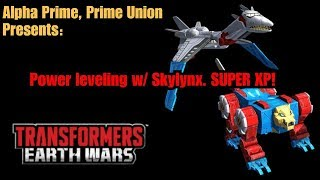 Transformers Earth Wars: Power leveling  with Sky lynx - SUPER XP!!