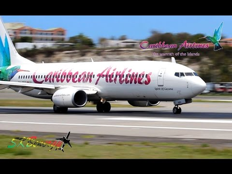 Caribbean Airlines 737-800 pushback and departure from St. Maarten