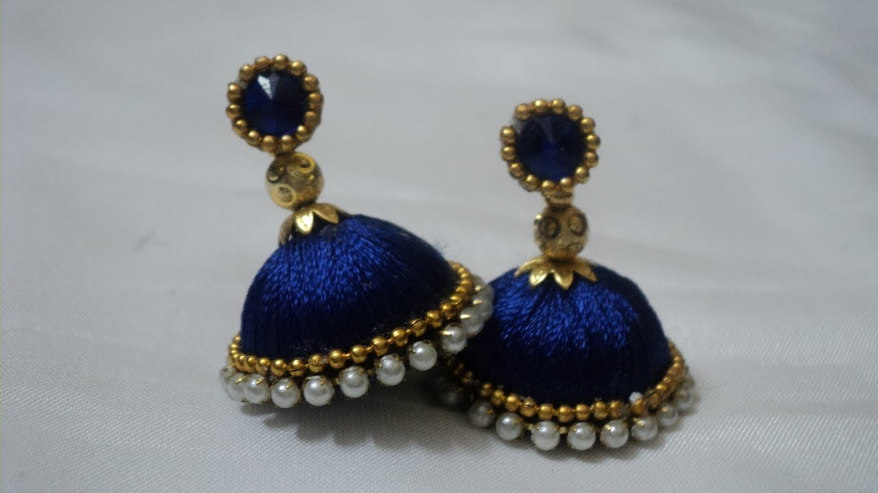 Making Silk thread Earrings   Jimikki Kammal   Handi ...
