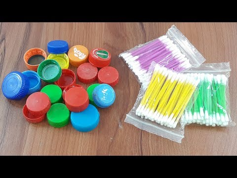 Amazing creative idea Out of cotton buds & plastic bottles caps | Diy Wall decorating idea