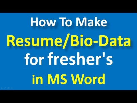 How To Make Resume For Freshers In Ms Word Bio Data