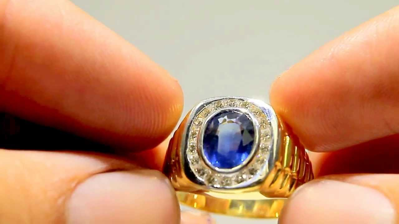 blue sapphire diamond mens ring 18k youtube. Black Bedroom Furniture Sets. Home Design Ideas