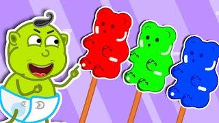 Lion Family 🍒 Rainbow Ice Cream and Jelly Bears | Cartoon for Kids