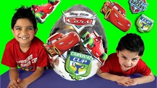Disney Cars Mcqueen Carnival Cup Big Silver Surprise Egg Video By Hitzh Toys