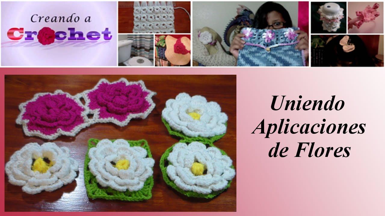 Union de aplicaciones redondas flores tejidas en crochet - Aplicaciones en crochet ...