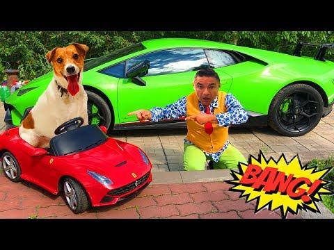 Dog driving a Car Ferrari F12 Berlinetta VS Mr. Joe on Lamborghini Huracan in Race for Kids