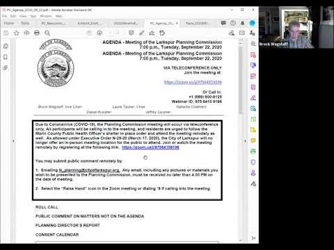 Larkspur Planning Commission Meeting September 22, 2020