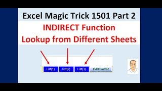 Excel Magic Trick 1501 Pt 02: INDIRECT Lookup Items From Different Sheets Based on Row Number
