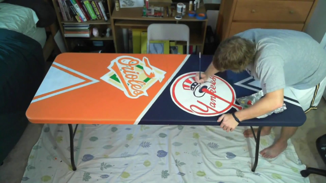 Orioles Yankees Beer Pong Table Painting Time Lapse