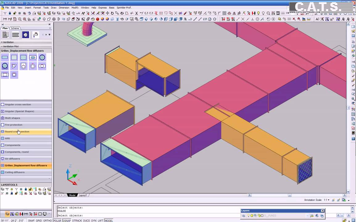 C a t s software ventilation 3d design part 2 youtube Simple cad software