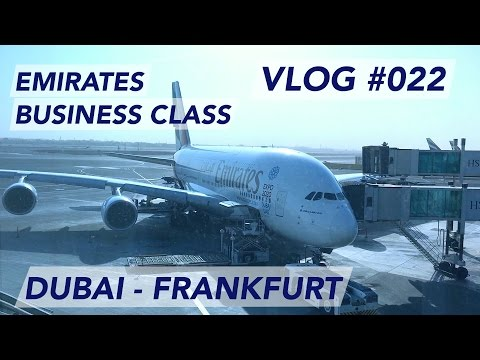 Emirates A380 Business Class Dubai to Frankfurt -  Morning trip to Germany [1080p60]