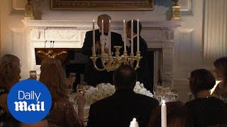 Trump and Macron give toasts during the White House state dinner - Daily Mail