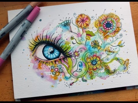 How to draw an eye with flowers