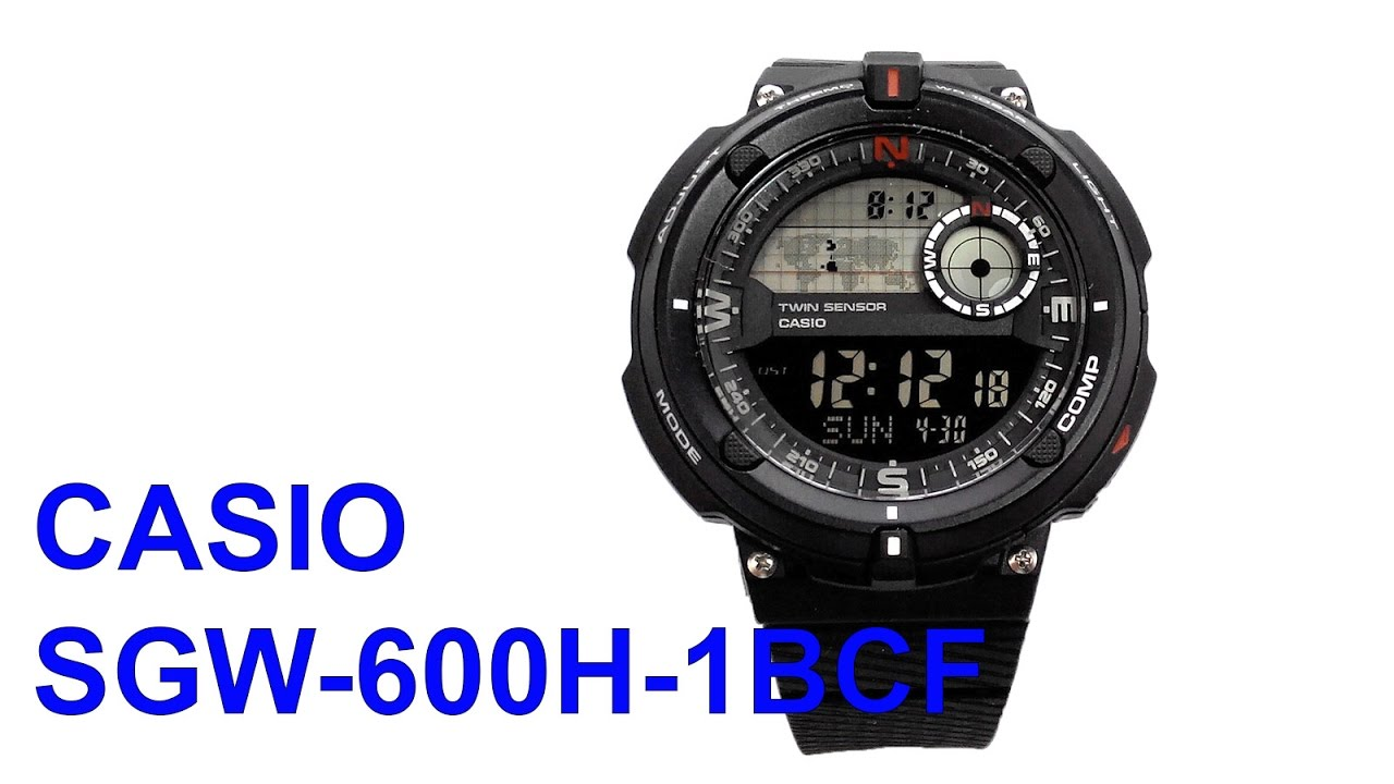 255a3c790887 Casio SGW-600H-2BCF Compass Thermometer GMT Watch - YouTube