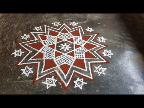 Aani matham Kolam//Pandaga muggulu//easy rangoli//8