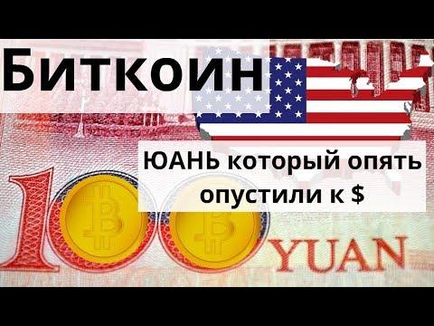 Биткоин и ЮАНЬ который опять опустили  Ждём ответку США