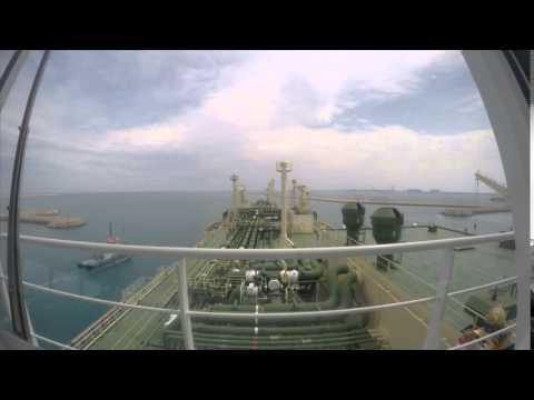 Vessel departing Port - Time Lapse