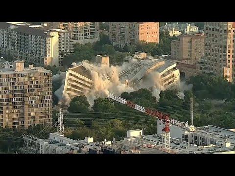 Banka binasının patlayıcı ile yıkılma anı İHA ile görüntülendi
