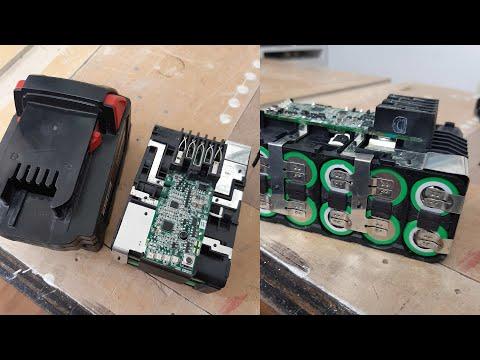 Reparando una batería de 18 voltios de herramientas