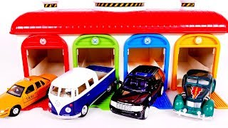 Learn Colors with Toy Vehicles Garage Playset for Children and Yippee Toys