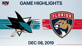 NHL Highlights | Sharks vs. Panthers - Dec. 08, 2019