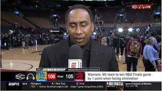 Stephen A. Smith STUNNED by Warriors def. Raptors 106-105 in Gm 5; Curry: 31 Pts; Kawhi: 26 Pts