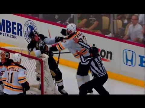 Sidney Crosby vs Zdeno Chara  - Hard Looks and Verbal Threats - June 1 2013 HD Game 1