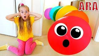 Ulya يلعب الغميضة مع البالونات