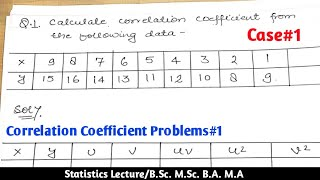 Correlation coefficient problems and solutions | problem 1