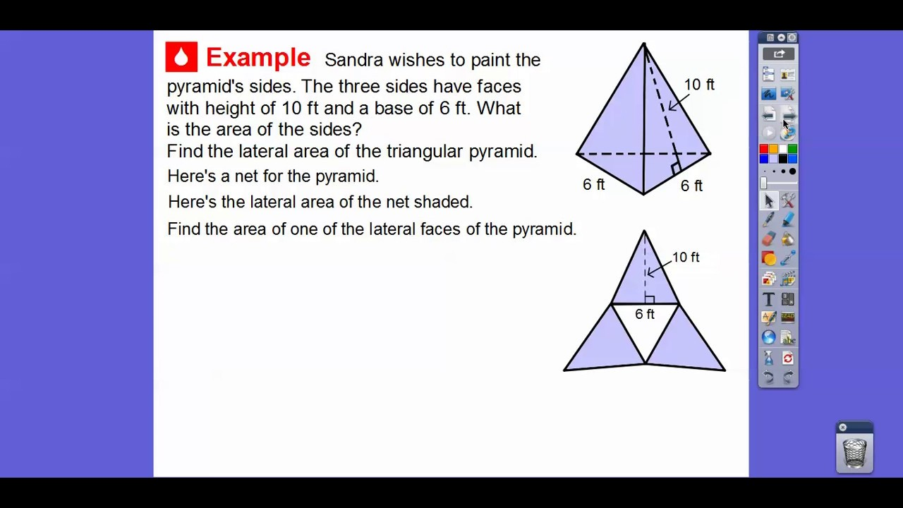 worksheet Area Of A Pyramid surface area of pyramids lesson 11 4 youtube 4