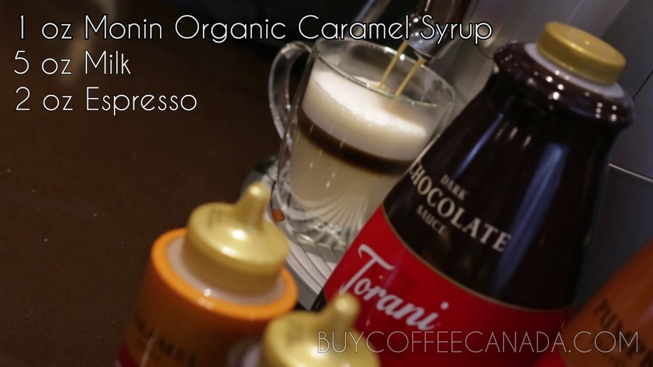 Monin Organic Caramel Syrup Latte from BuyCoffeeCanada - YouTube
