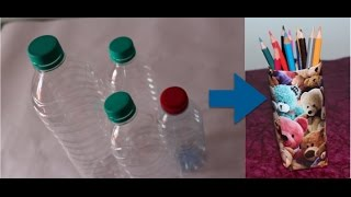 Upcyling plastic bottles - 3) Easy way to create a pen stand from a plastic bottle