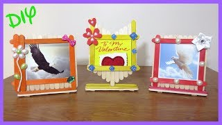How to make Popsicle stick Picture Frames   Icecream stick photo frame   DIY   Arts   Crafts