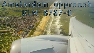 KLM Boeing 787 PH-BHI Turbulent Approach and Landing into Amsterdam with Wingflex !