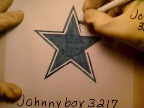 How To Draw Dallas Cowboys Logo Star Sign Step By Step Tutorial Nfl