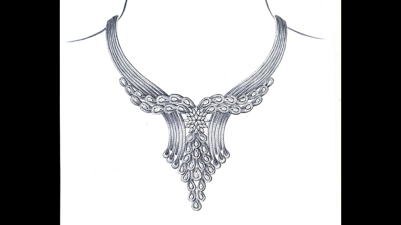 Draw necklace design how to draw necklace designs exclusive necklace pencil drawing on youtube art jewellery design