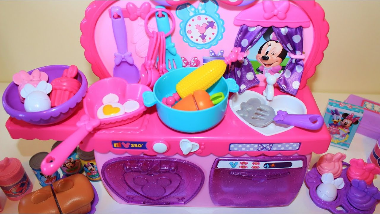 minnie mouse bowtastic kitchen playset light and sound toy velcro cutting food kitchen accessory. Black Bedroom Furniture Sets. Home Design Ideas