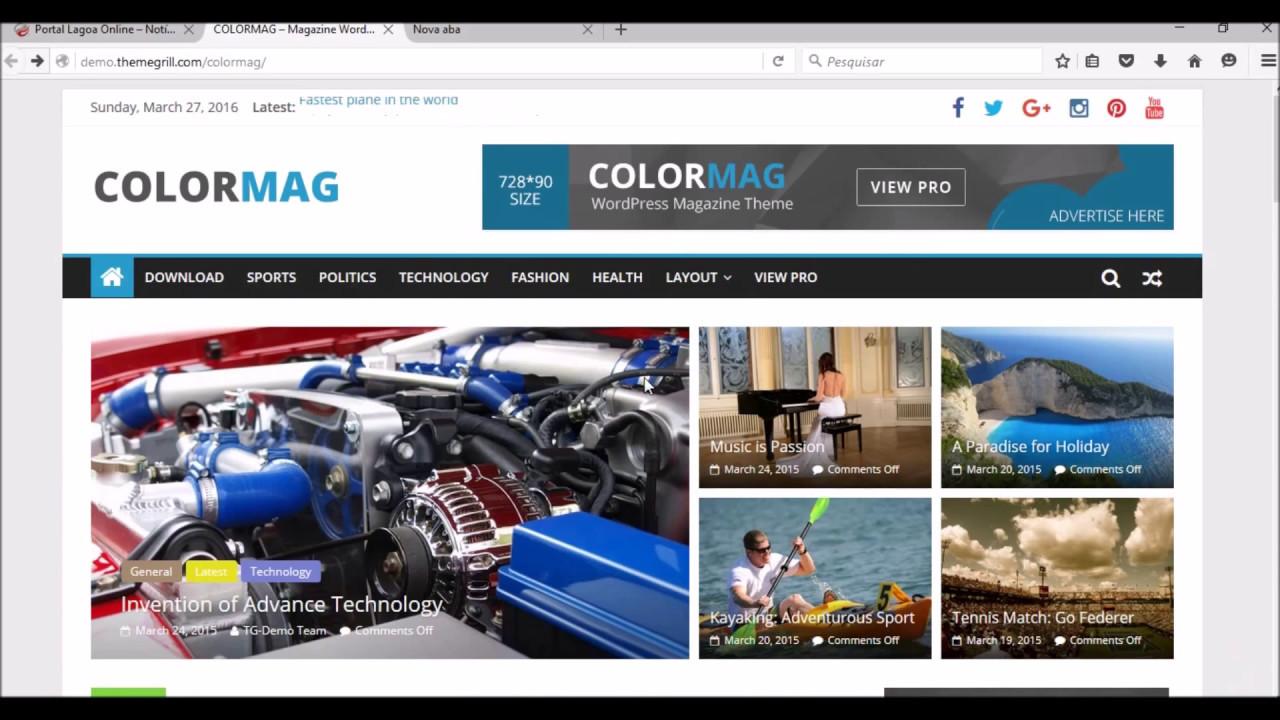 Tema Portal de Notícias Profissional Gratis Wordpress - YouTube