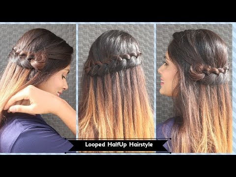 2 Min Looped Halfup Hairstyle/Open Hair Hairstyle /Party/Function Hairstyle thumbnail