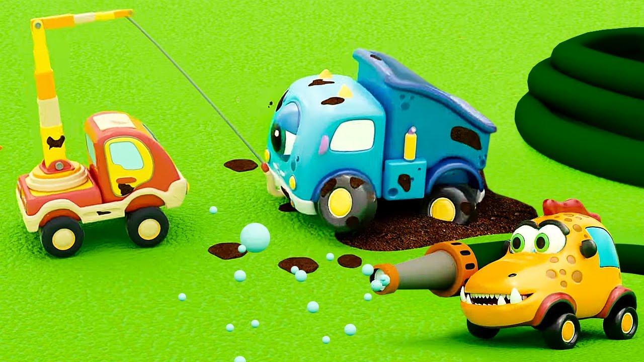 Новые мультики ПРО МАШИНКИ - Гонки и грязь - Машинки Мокас для детей