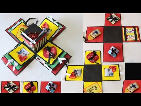 DIY Exploding Gift Box   How to make Different Cards for Putting Inside the Explosion Box