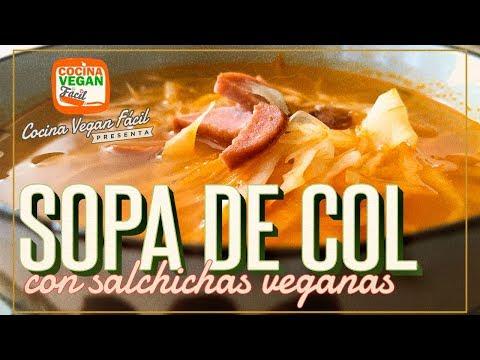 Sopa de col o repollo con salchichas veganas - Cocina Vegan Fácil
