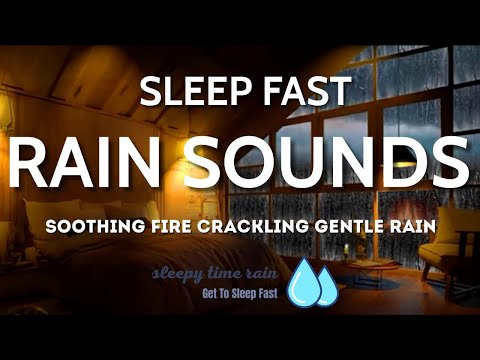 Soothing Fire Crackling Sounds with Gentle Rain Sounds, Sleep, Insomnia Treatment