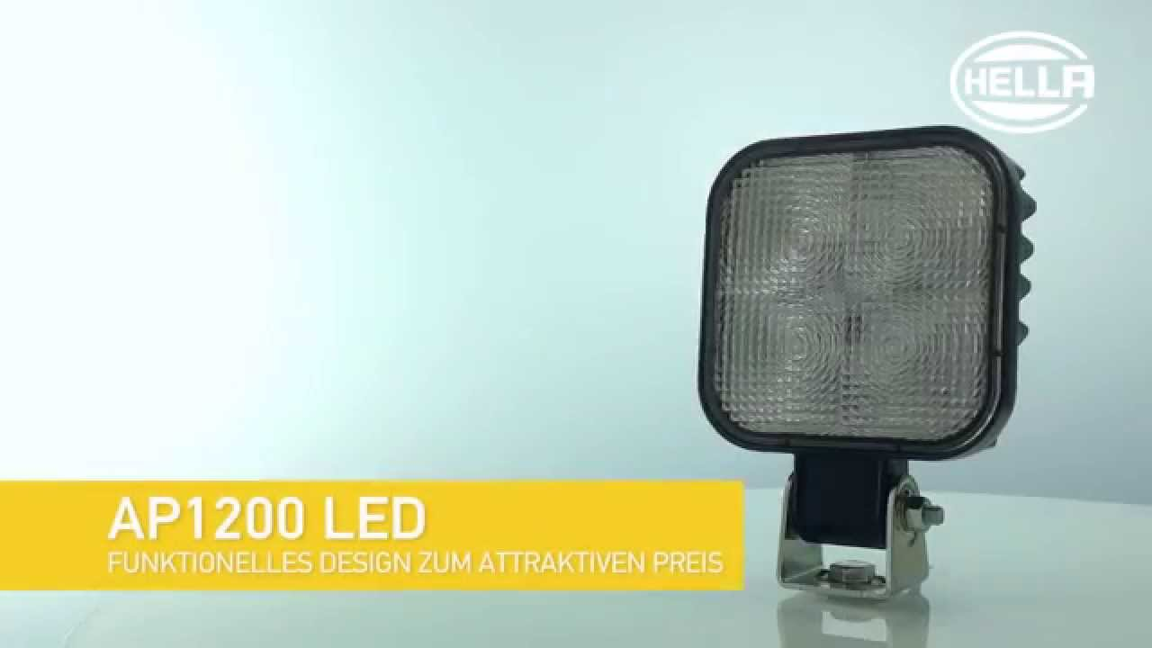 hella arbeitsscheinwerfer ap 1200 led youtube. Black Bedroom Furniture Sets. Home Design Ideas